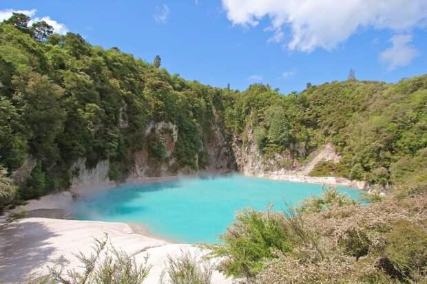 4. Кратерное озеро Инферно, Долина Вулканов Ваймангу, Новая Зеландия в мире, озеро, природа
