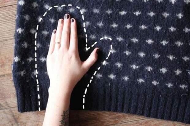 5. Старый свитер замечательно подойдет для изготовления варежек. зима, совет, хитрости