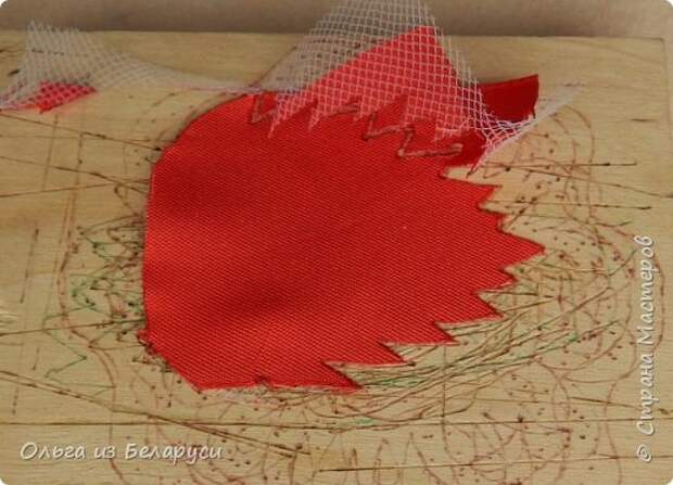Мастер-класс Флористика искусственная Моделирование конструирование МК листка розы из фатина+роза из фатина Ленты фото 7