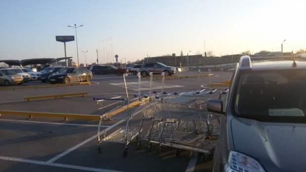 В Севастополе непредвиденное ДТП: продуктовые тележки помяли автомобиль (фотофакт)