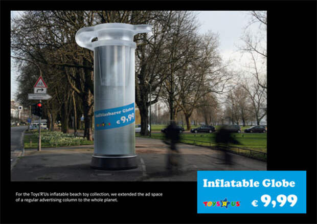 Реклама надувного глобуса в виде гигантской затычки