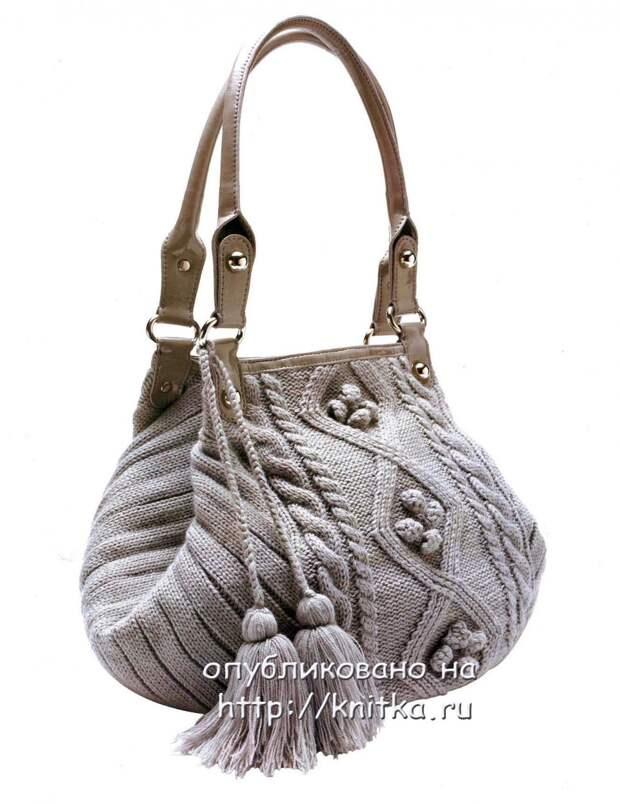 Очаровательная комбинированная, вязаная сумка. МК