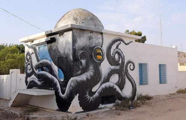 150 уличных художников из 30 стран, превратили старую деревушку Эр-Рияд в Тунисе в настоящую галерею под открытым небом