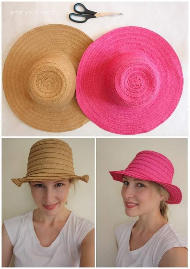 Переделка широкополой шляпы в обычную