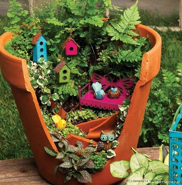 Миниатюрный сад из цветочного горшка. Идеи (7) (600x612, 340Kb)