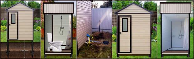 Конструкции дачных душей и туалетов с подогревом воды на винтовых сваях и каталогом вариантов полной комплектации под ключ