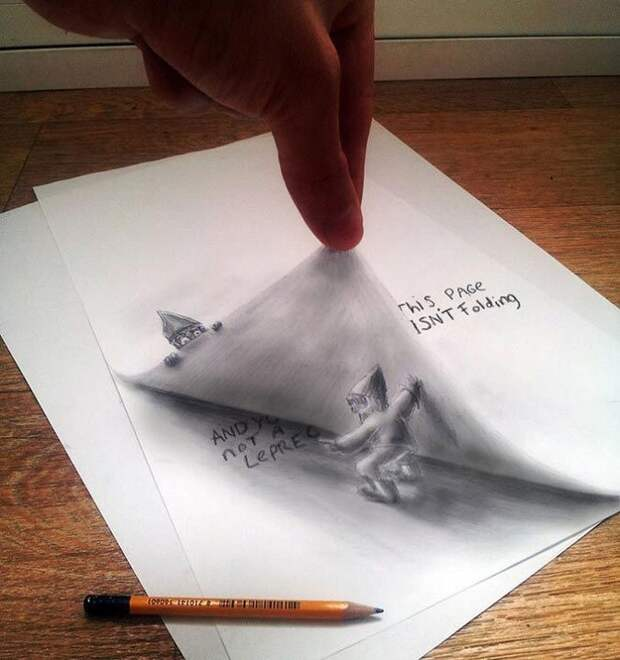 Удивительные трехмерные иллюзии, нарисованные на бумаге простым карандашом
