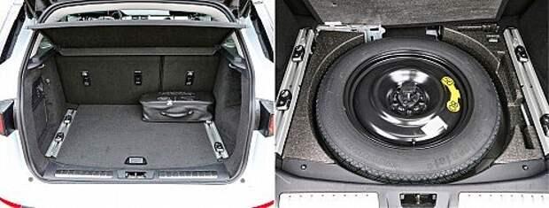 У Эвока форма багажника неплоха. За доплату предлагаются направляющие рельсы. Но что на них класть, если намеренный объем всего 280 л при заявленных 575 л? В подполье, кроме докатки, ничего не поместилось.