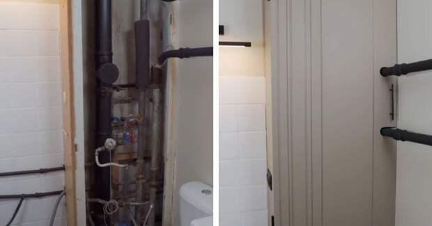 Закрываем страшные трубы в ванной. Аккуратный короб с дверцей-книжкой