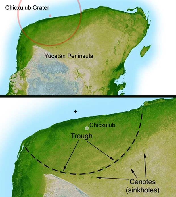 Место падение метеорита и размеры кратера.
