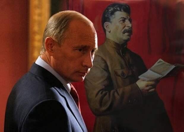 путин на фоне портрета сталина(2014)|