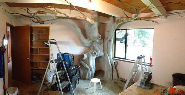 Для воссоздания ствола использовалась особая цементная смесь, а для веток - папье-маше. К этому моменту на проект было потрачено 225 часов   дерево, дочь, отец, спальня