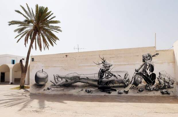 150 уличных художников из 30 стран, превратили старую деревушку Эр-Рияд в Тунисе в настоящую галерею под открытым небом (8)
