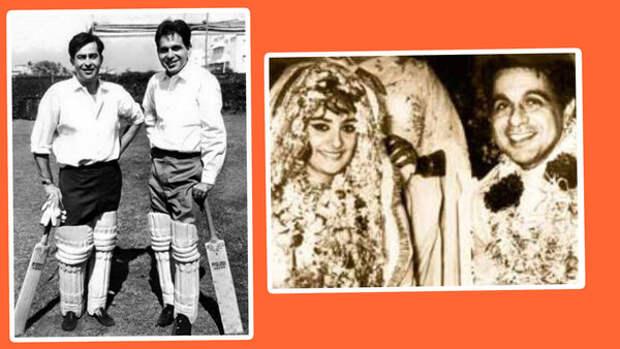 Радж Капур и Дилип Кумар. Справа: свадьба Дилипа Кумара и Сайры Бану