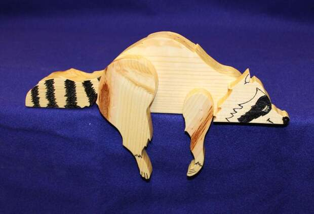 "Wooden Shelf Sitter ""Lazy Raccoon."" (pine)"