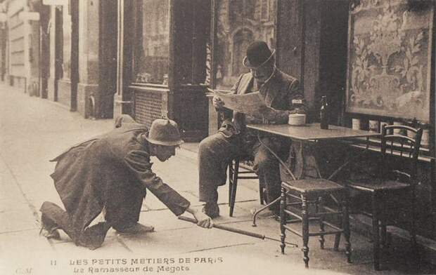 20. Собиратель окурков. Париж, 1900-е. исторические фотографии, история, фото