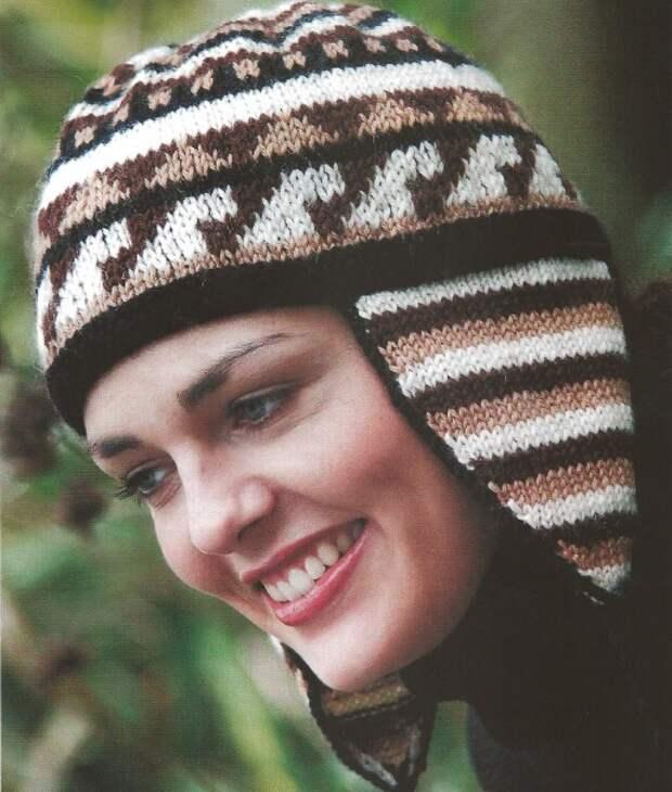 Как связать перуанскую шапку для девочки спицами