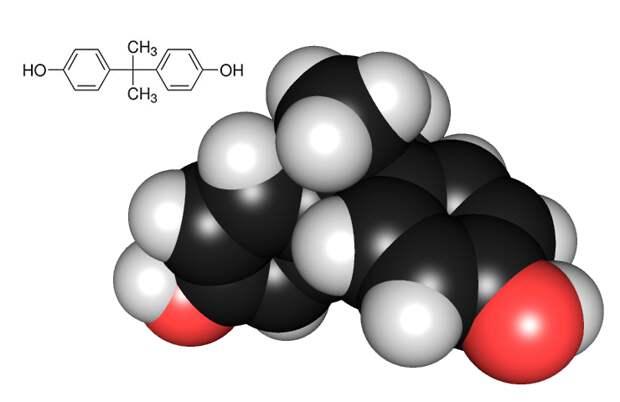 Рисунок 8. Атомная модель и химическая структура бисфенола А «Википедия»