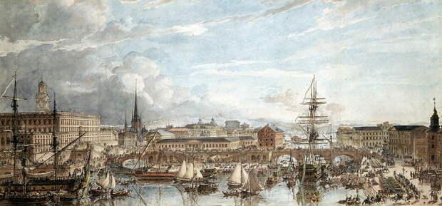 Стокгольм принимает военные корабли, 1788 год. Художник Луи-Жан Деспре - Мы пойдём своим путём   Warspot.ru