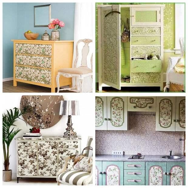 С помощью обоев можно обновить вид мебели.