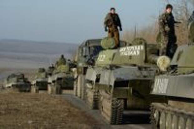 Отвод танковой колонны от посёлка Обильное, который состоялся в рамках выполнения Минских соглашений.
