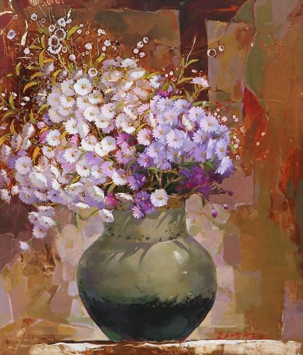 Корейский художник Yi Seong-bu. Натюрморт с цветами. Картина вторая