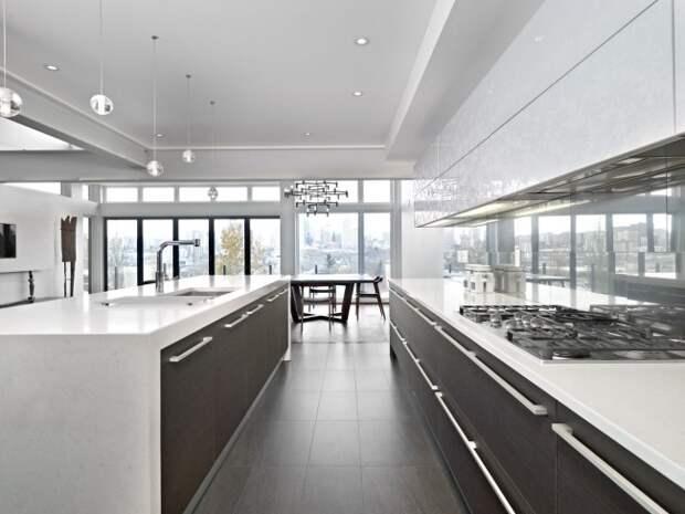 Очень просторная светлая кухня-студия с отделкой гарнитура натуральным венге в темных оттенках