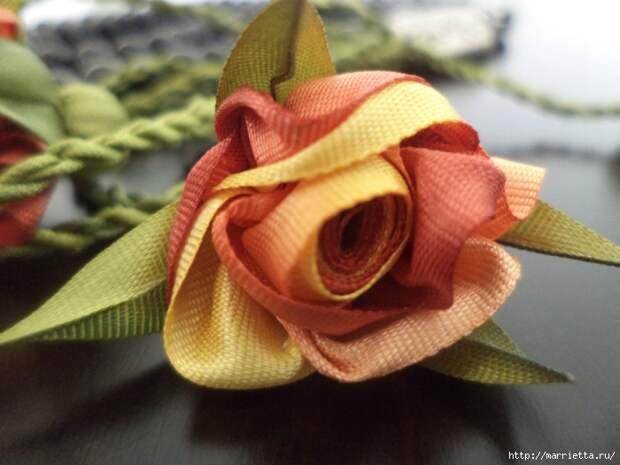 Миниатюрные цветы из ленточек. Мастер-классы (17) (700x525, 237Kb)