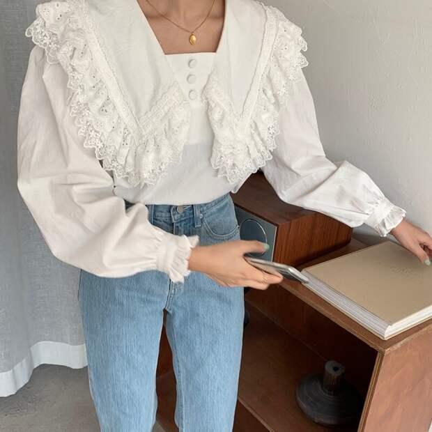 Рубашка с удлиненным воротником с кружевной отделкой. /Фото: ae01.alicdn.com