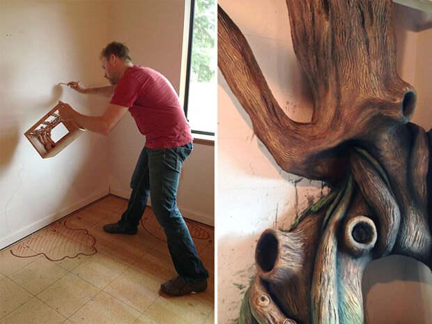 Radamshome, художник в индустрии видеоигр, начинал с концепт-рисунка и масштабной модели будущего дерева дерево, дочь, отец, спальня