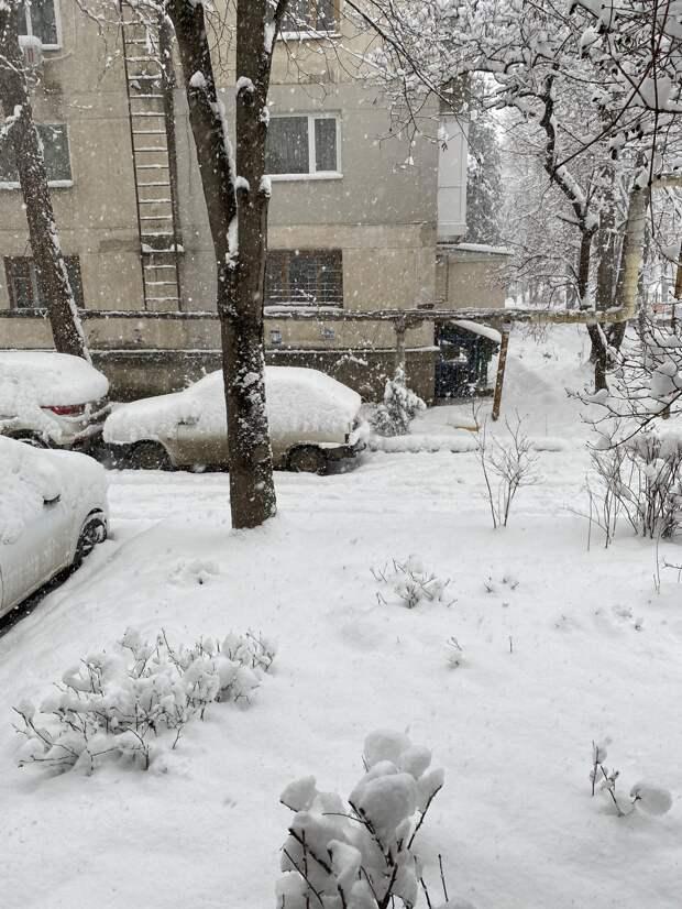 В Симферополе выпал снег