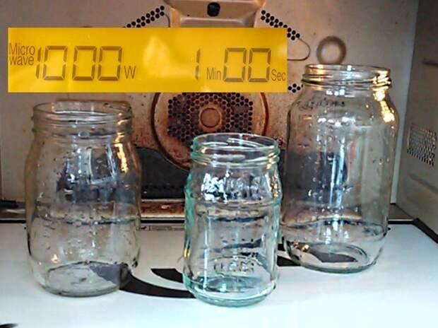 Стерилизация банок для консервации в микроволновой печи.