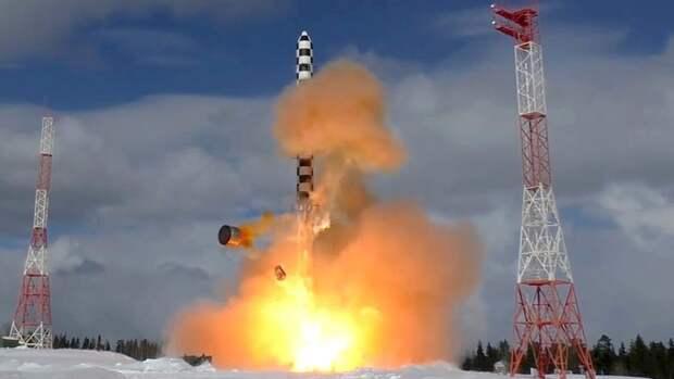 Запуск тяжелой межконтинентальной баллистической ракеты «Сармат» с космодрома «Плесецк» в Архангельской области