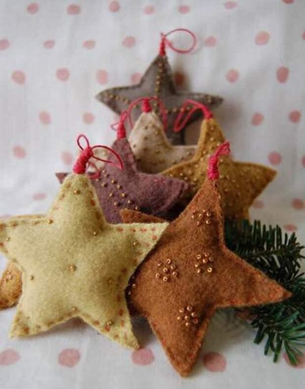 Поделки из фетра новый год: звездочки. Как сделать новогодние игрушки из фетра своими руками