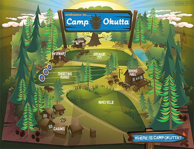 Детский лагерь с минным полем