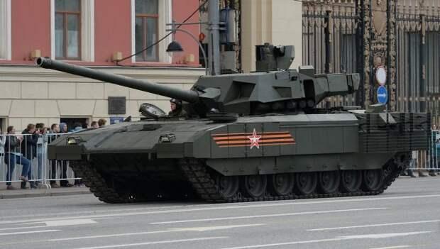 Танк Т-14 на гусеничной платформе Армата во время репетиции военного парада в Москве в ознаменование 70-летия Победы в Великой Отечественной войне 1941-1945 годов