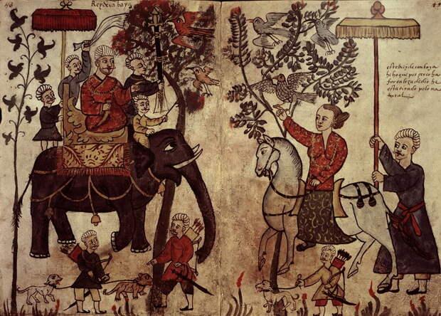 Анонимная португальская иллюстрация в рукописи «Codice Casatenense» XVI века, изображающая султана Гуджарата - Диу: город в подарок | Warspot.ru