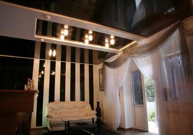 Глянцевые потолки необычайно красивы