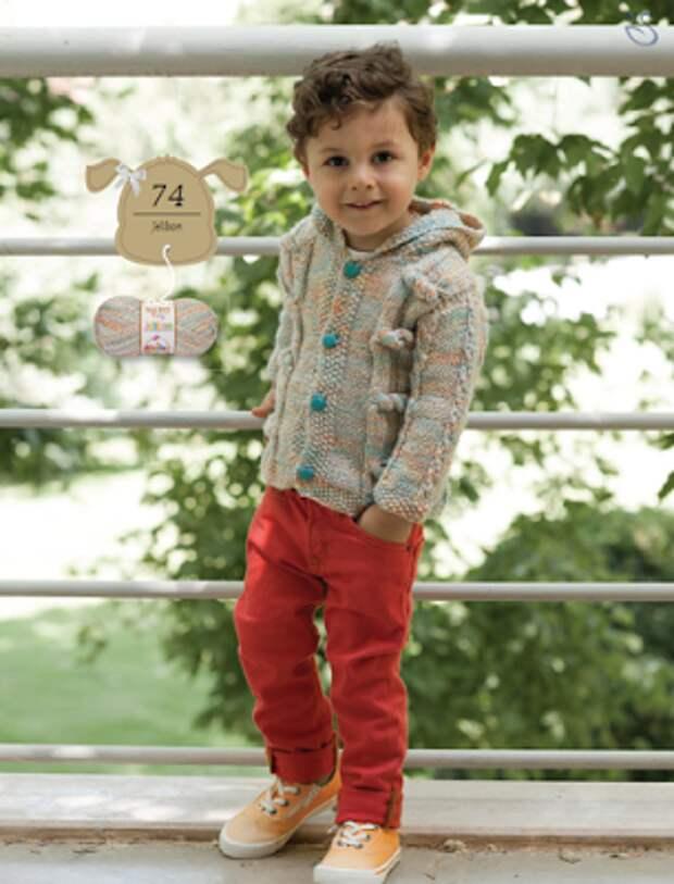 Кардиган с капюшоном для мальчика 1,5-2 года - описание с выкройкой (перевод)
