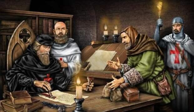 Заём у монахов ордена.  С картины художника. Фото из открытых источников
