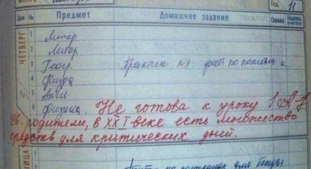 30 неожиданных записей в школьных дневниках