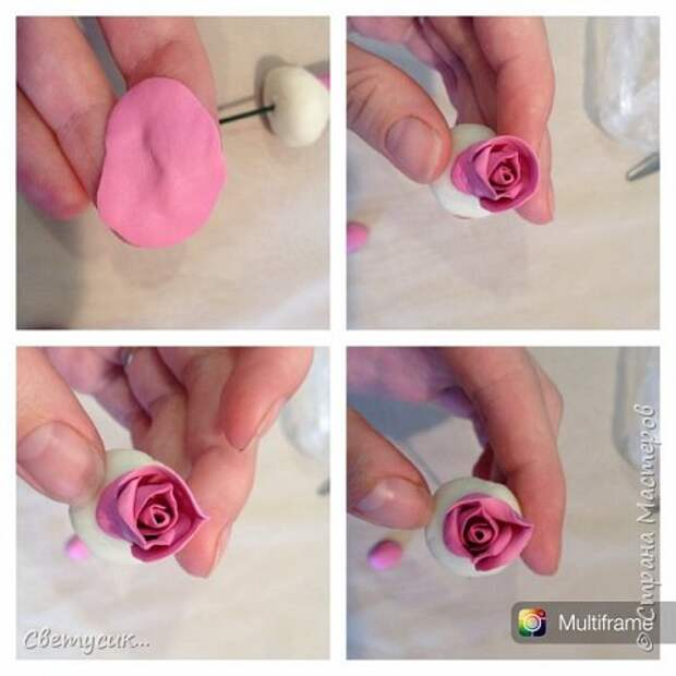 Мастер-класс Флористика искусственная Лепка МК розы из ХФ как и обещала Фарфор холодный фото 8