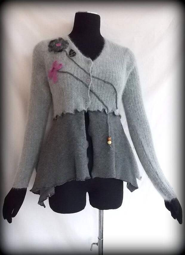 Asymmetric Needle Felted Floral Cardigan M by RebeccasArtCloset, $78.00..i have a jacket i need to do this to