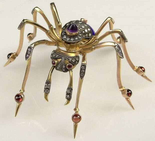 Fabulous Large Antique Style Russian 15 Karat Yellow Gold, Enamel, Diamond, Garnet and Amethyst Spider Brooch.