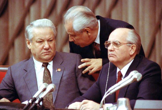 Борис Ельцин, Анатолий Лукьянов и Михаил Горбачев, декабрь 1990 года