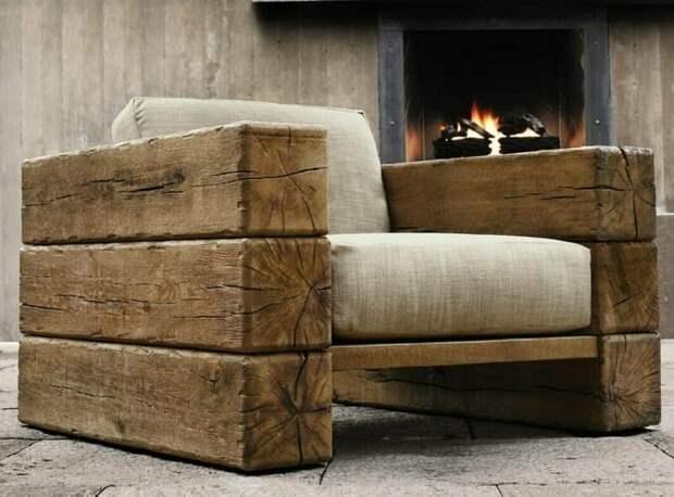 Оригинальное и при этом очень удобное кресло кресло из бруса, мебель лофт, не обычное кресло