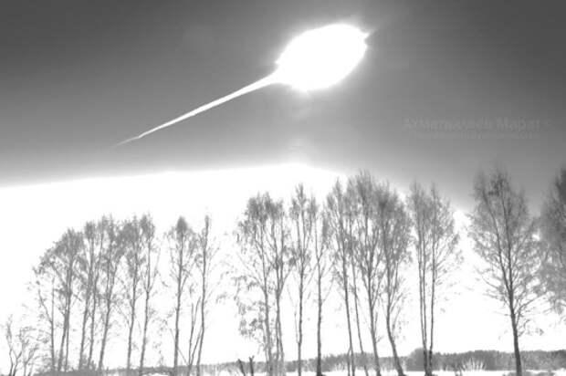 Одно из фото Чебаркульского метеорита в момент падения