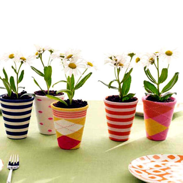 Весенний хенд мейд: декорируем цветочные горшки