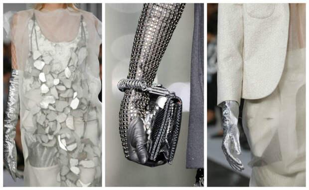 перчатки металлик