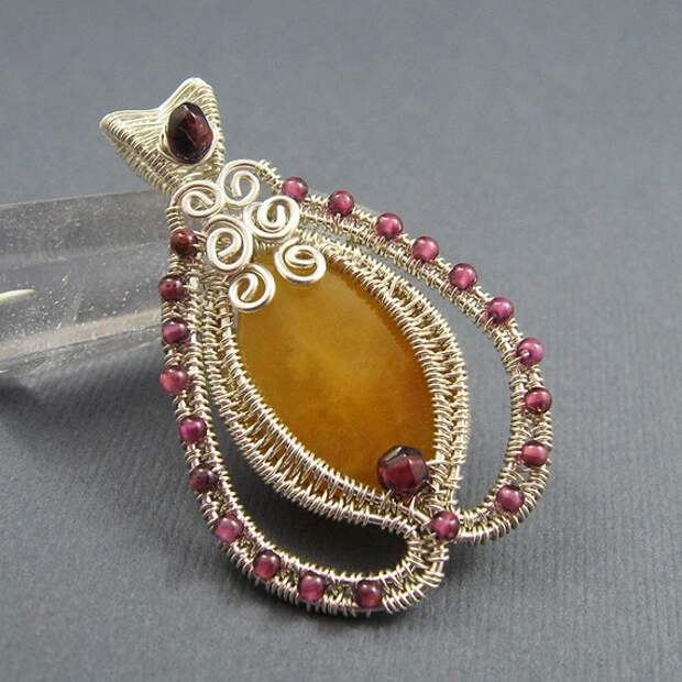Yellow Jade, Garnet and Sterling Silver Tulip Pendant